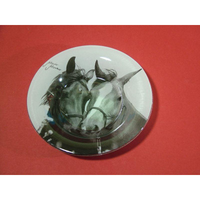 Retro glass bowl, horse love, 14,7x2,5cm, Mario M from wholesale and