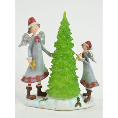 Engel Mit Weihnachtsbaum Dekofiguren Mit Led Lich Aus