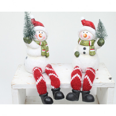 Szélezett hóember fehér / piros fa XL
