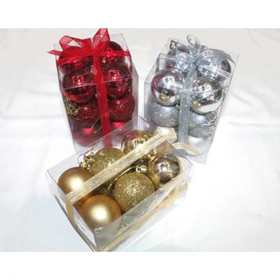 Tree balls set of 12 in PVC gift box, each 5cm