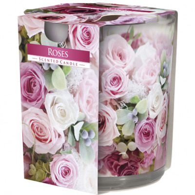 Scented candle motif glass roses 120g wax 7x8cm