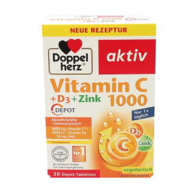Doppelherz Vitamin C 1000 + Vitamin D 30 Tabl.