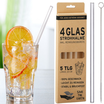 Drinking straw glass, set of 4, approx. 20 cm long