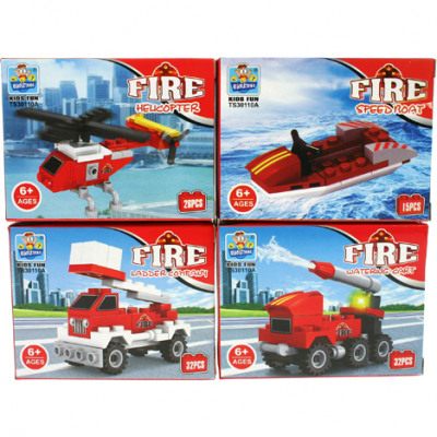 Building blocks Vehicles fire brigade 4- times ass