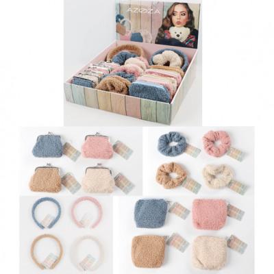 Hair teddy purses assortment different colors un