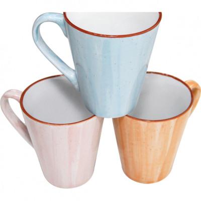Kubek do kawy 12x11x8,5 cm z kolorowym brzegiem