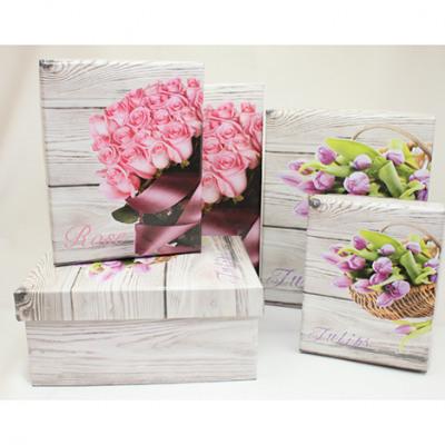 Ajándék doboz rózsa és tulipán motívum