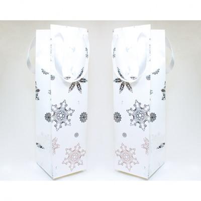 Ajándék táska hópehely fehér üveg 35x10cm