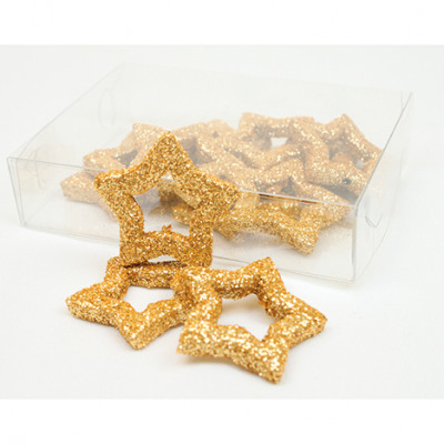 Csillogó dekorációs csillag csomag 12 darab, arany