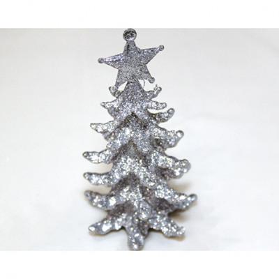 Karácsonyfa ezüst csillogással 13x7cm