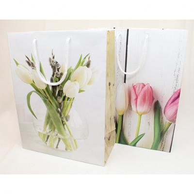Gift bag 23x18cm, Tulip-Design 2-fold sorti