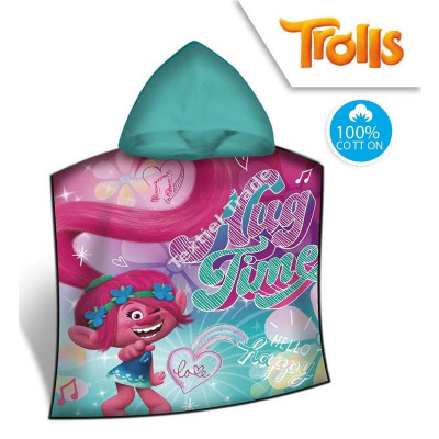 Trolls Hooded poncho verlour from wholesale and import