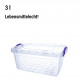 Box with lid & handles, 3 L, 11.5 x 26 x 17 cm
