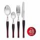Set 48 cutlery Bergner City - burgundy