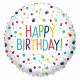 Standard EU Confetti Birthday Folienballon rund ve