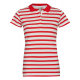 Ladies Basic Polo short sleeve striped, red-white,