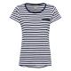 Ladies T-Shirt striped, navy / white, size XXL