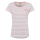 Ladies T-Shirt striped, rose / white, size S.