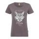 Ladies Print T-Shirt Cat, gray