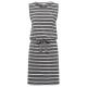 Ladies dress, striped, anthracite / white