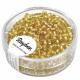 Rocailles, 2, 6 mm ø, met zilveren insertie, goud,