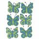 Felt butterfly, light blue, 6 pieces