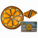 Serviette de plage, orange, 100% polyester , D: en