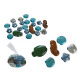 Decorative glass nuggets, Maritim, about 340 g in