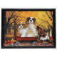 3D image Dog & puppy on wagon