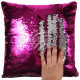 Sequin pillow magenta silver approx. 40 cm x 40 cm