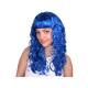 Langhaar Perücke blau, lockig bzw. wellig