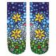 Motif socks flower mosaic multicolor