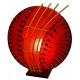 Lampa wykonana z bambusa i włókna szklanego, czerw