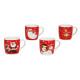 Tazza rossa con motivi di Natale di ceramica, 4-fa