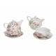 Teiera con tazza, decorazione di rosa, porcellana,