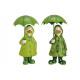 Anatra con ombrello metallo di poli verde 2-s