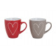 Cup heart in red / gray ceramic, 2-way sortie