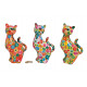Salvadanaio fiore gatto in ceramica, 3- assortito,