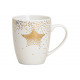 Boccale motivo stella d'oro in porcellana bian