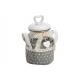Cesto tessile con coperchio a cuore in ceramica co