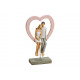 Loving couple with heart on stand made of poly mul