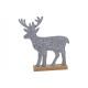 Cervo in feltro su supporto in legno grigio (L / A