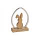 Coniglio fatto di legno di mango in metallo marron