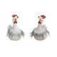 Gallo in ceramica grigio, bianco volte assortito 2