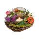 Windlight arrangement, wreath with butterfly, flow