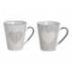 Mug heart decor in stoneware white, gray 2-fold s