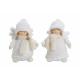 Angel in witte pluche / textiel, tweevoudig geasso