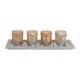 Windlicht.-set da 5 pezzi su vetro piatto di legno