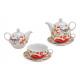 Teáskanna készlet madár virág dekoráció porcelán z
