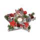 Lanterna Poinsettia in legno, vetro colorato (B /